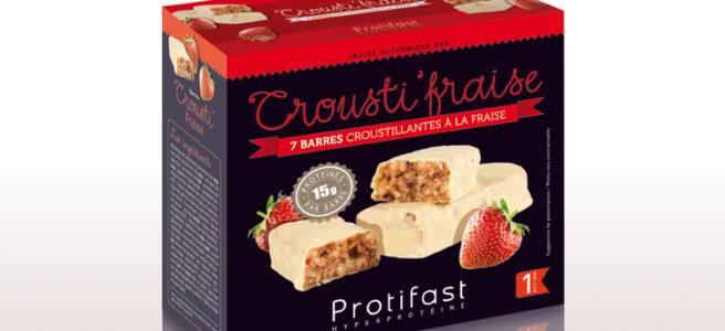 barre fraise croustillante riche en protéines