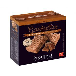 8 gaufrettes saveur chocolat riches en protéines. 4 sachets fraîcheur x 2