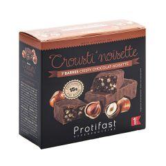 Barre chocolat noisette Protifast riche en protéines.