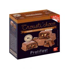 Barre Crousti'choco Protifast riche en protéines. 1 boîte de 7 barres sans gluten Low Carb.