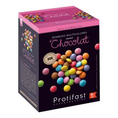 Bonbons multicolores saveur chocolat façon Smarties ® riches en protéines. 7 sachets