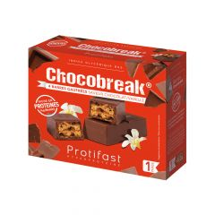 Chocobreak barre riche en protéines saveur chocolat vanille.