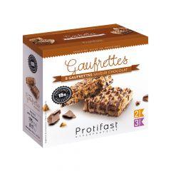 Gaufrettes saveur chocolat riches en protéines.