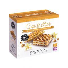 Gaufrettes saveur vanille riches en protéines.